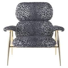Tahiti Armchair in Print Fabric with Gold Finish Metal Legs by Roberto Cavalli