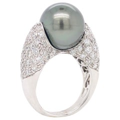 Tahiti Black Pearl and White Diamonds on White Gold Rings