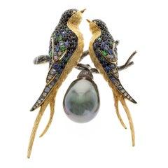 Tahiti Black Pearl Diamond Sapphire 18 Karat Yellow Gold Loving Bird Brooch