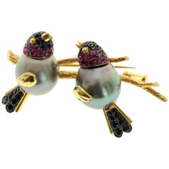 Tahiti Black Pearl Ruby Sapphire 18 Karat Yellow Gold Loving Bird Brooch