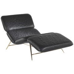 Tahiti Chaise Lounge in Metal and Leather by Roberto Cavalli