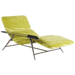 Tahiti Chaise Lounge with Single Arm in Metal and Fabric by Roberto Cavalli
