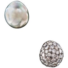 Tahiti Pearl '24.81 Carat' and Mirror Image Diamond Earstuds '5.05 Carat'