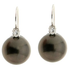 Tahiti Pearls 18 Karat White Gold Diamonds Stud Earrings
