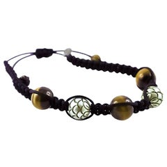 Tahiti Pearls and Tiger Eye White Gold 18 Karat Bracelet