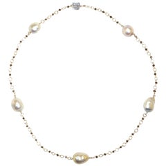Tahiti Pearls Black Diamonds White Gold Necklace Handcrafted in Italy