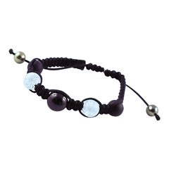 Tahiti Pearls, Black Tourmaline and Berg Crystal White Gold 18 Karat Bracelet