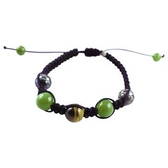 Tahiti Pearls, Tiger Eye and Green Nephrite White Gold 18 Karat Bracelet