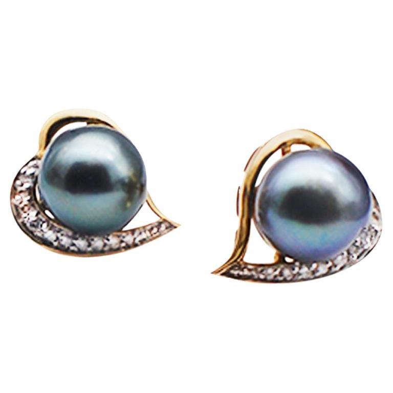 Tahitian AAA Pearls Diamond Heart Shaped Earrings