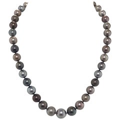 Tahitian and South Sea Pearl Strand with White Gold and Diamond Clasp