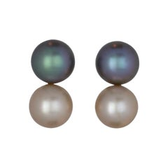 Tahitian and White Pearl Duo Earring