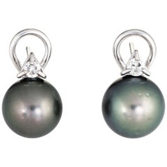 Tahitian Black Cultured Pearl Diamond Earrings Estate 14 Karat White Gold Studs