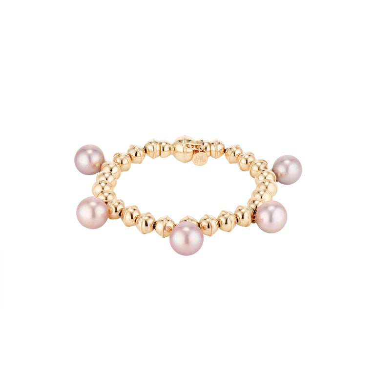 Contemporary Marlo Laz Tahitian Pearl 14K White Gold Bead Squash Blossom Stackable Bracelet For Sale