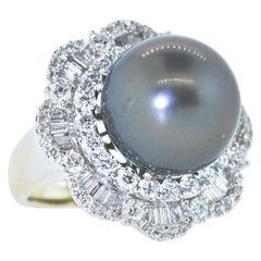 Tahitian Black Pearl and Diamond Ring