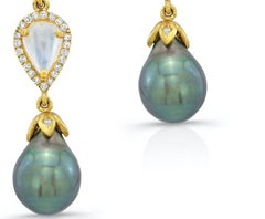 Tahitian Black Pearl and Moonstone Earrings with Diamond Pave in 18k Yellow Gold