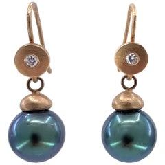 Tahitian Black Pearl Drop Earrings in 18 Karat Rose Gold with Diamond Accents