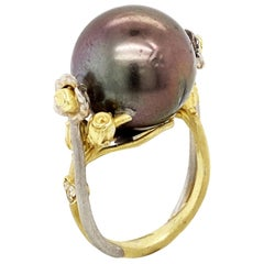 Tahitian Black Pearl Two-Tone Gold and Diamond Floral Rose Ring Stambolian