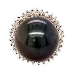 14.5MM Black Tahitian Pearl Cocktail Ring