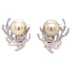 Tahitian Cultured Pearl and Diamond Earclips in 18 Karat White Gold