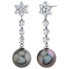 Tahitian Cultured Pearl and Diamond Earrings 14 Karat White Gold