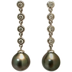 Tahitian Cultured Pearl Diamond White Gold Earrings