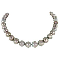 Tahitian Cultured Pearl Necklace with White Gold Ball Clasp