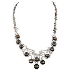 Tahitian Cultured Pearls Diamond Necklace