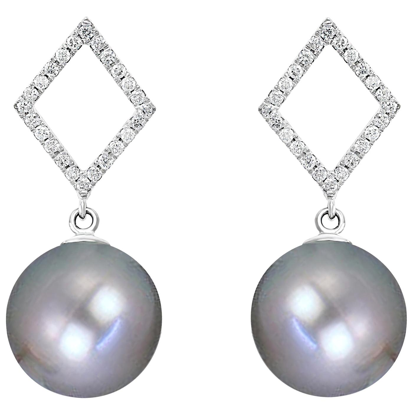 Tahitian Grey Cultured Pearl and Diamond Earrings with 14 Karat White Gold