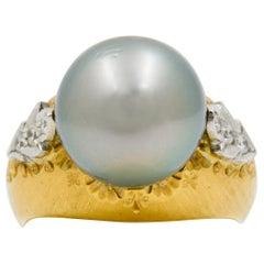 Tahitian Grey South Sea Pearl 18 Karat Yellow Gold Ring
