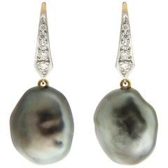 Tahitian Keshi Pearl Diamond Lever Back Drop Earrings