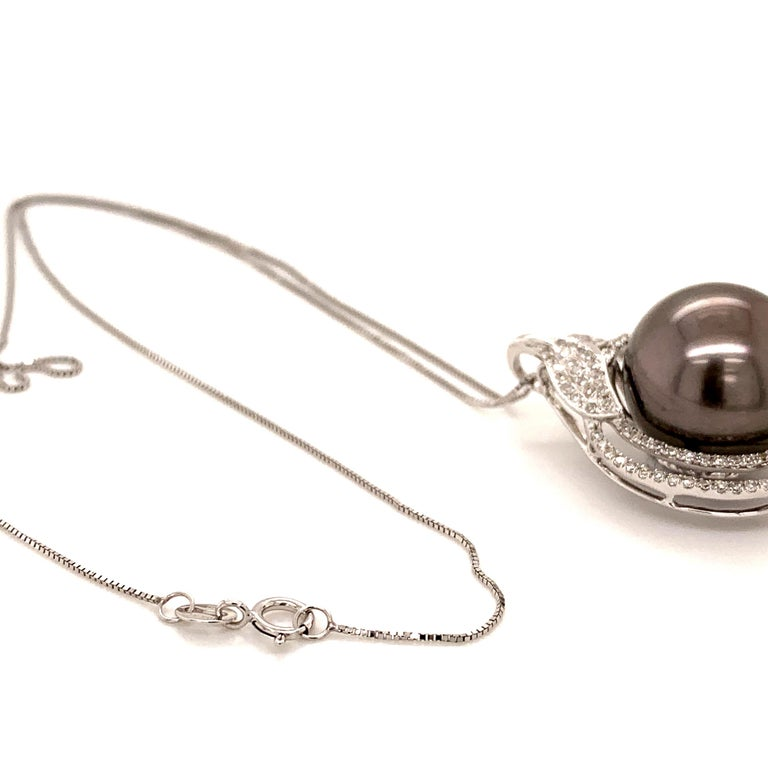 Contemporary 14.7MMTahitian Pearl Pendant Necklace For Sale