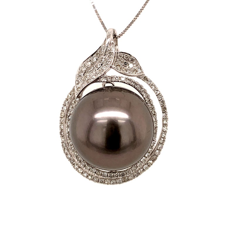Round Cut 14.7MMTahitian Pearl Pendant Necklace For Sale