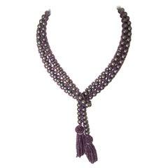 Tahitian Pearl, Amethyst and Diamond Lariat Tassel Necklace