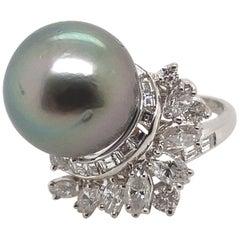 Tahitian Pearl and 1.15 Carat Diamond Cluster Ring Platinum