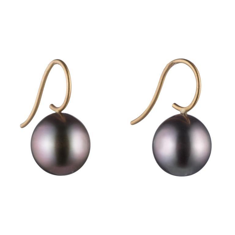 Tahitian Pearl and 18 Karat Gold Earrings For Sale