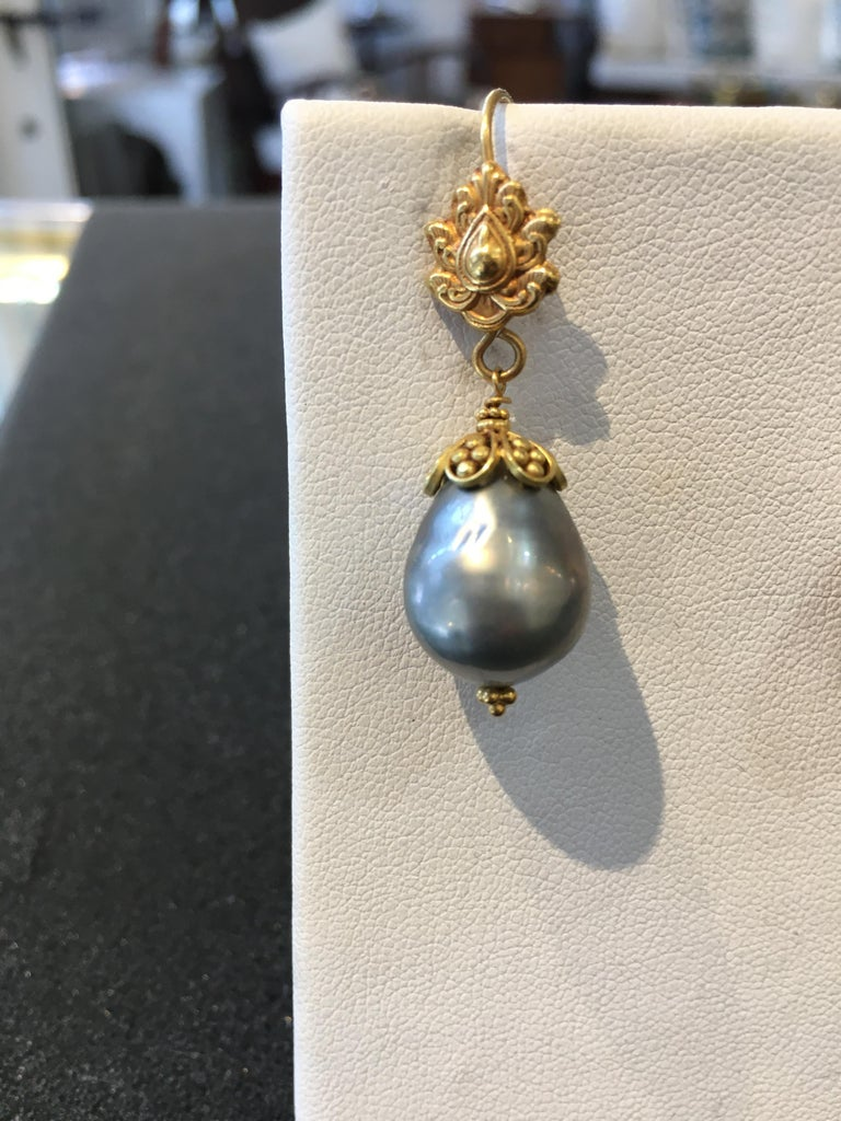 Tahitian Pearl and 22 Karat Gold Drop Earrings by Deborah Lockhart Phillips In Good Condition For Sale In Nantucket, MA