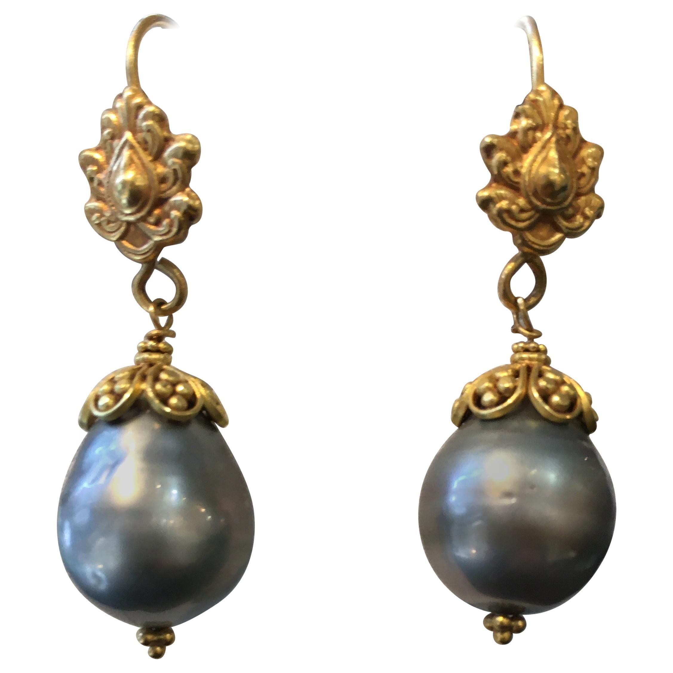 Tahitian Pearl and 22 Karat Gold Drop Earrings by Deborah Lockhart Phillips