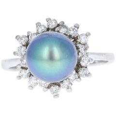 Tahitian Pearl and Diamond 14 Karat White Gold Cocktail Ring