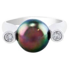 Tahitian Pearl and Diamond 14 Karat White Gold Ring