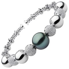 Tahitian Pearl and Diamond Bangle Bracelet in 18 Karat White Gold