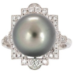 Tahitian Pearl and Diamond Deco Style Ring Set in Platinum