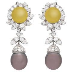 Tahitian Pearl and Diamond Drop Earrings