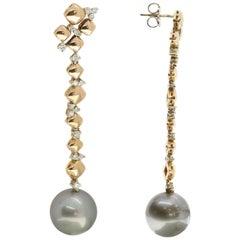 Tahitian Pearl and Diamond Drop Earrings in 18 Karat Rose and White Gold