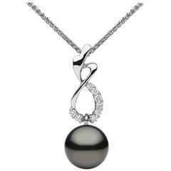 Yoko London Pearls Tahitian Pearl and Diamond Necklace in 18 Karat White Gold