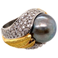 Tahitian Pearl and Diamond Platinum and Gold Ring Estate Fine Jewelry