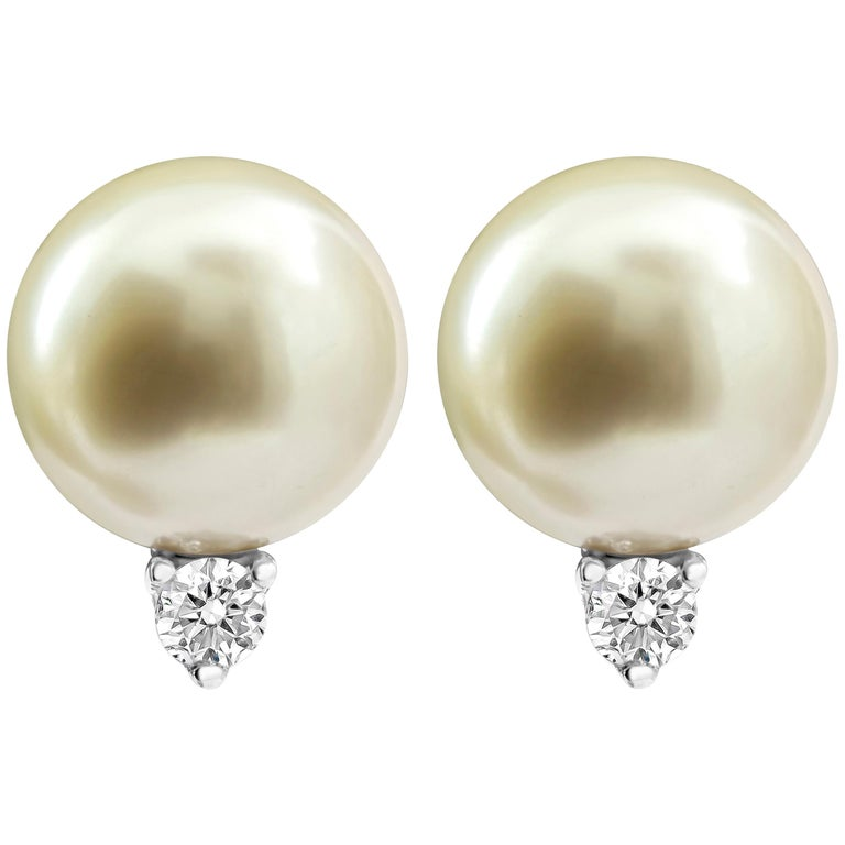 Tahitian Pearl and Diamond Stud Earrings For Sale