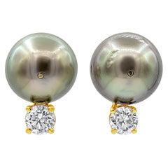 Tahitian Pearl and Diamond Stud Earrings