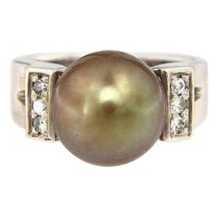 Tahitian Pearl and Diamond Wide Ring in 14K