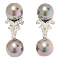 Tahitian Pearl and Diamond Trimming Earrings, 18 Karat Gold
