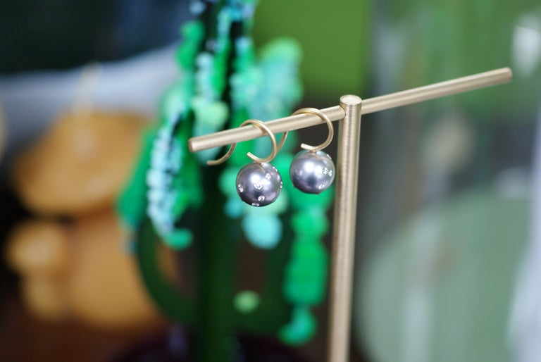 Contemporary Tahitian Pearl, Diamond and 18 Karat Gold Earrings For Sale